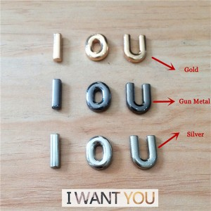 B001 Zinc Alloy Letter  Rivets 11mm in Height A to Z 26pcs/bag
