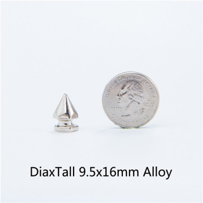 H048 DIY Alloy Hex Spikes 9x16mm 100pcs/bag