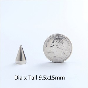 NO65 Spikes Cone Mmetal 9.5x15mm 100pcs/bag