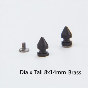 NO72-H010 Hex Spikes For Leather 8x14mm 100pcs/bag