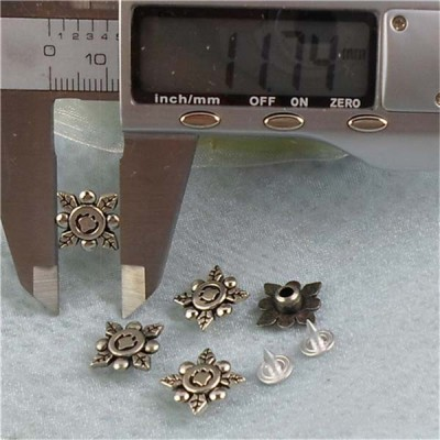 K125 Flowers Alloy Rivets 12x5mm 100pcs/bag