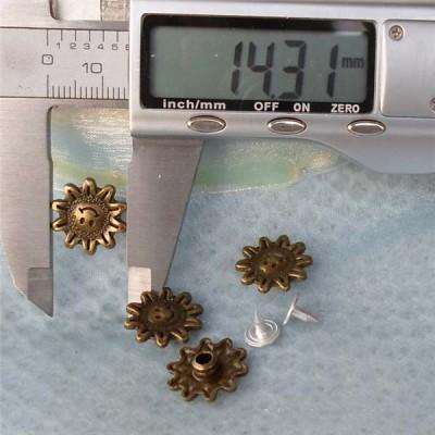 K126 Flowers Alloy Rivets 14x4mm 100pcs/bag