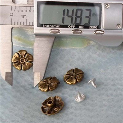 K127 Flowers Alloy Rivets 15x5mm 100pcs/bag
