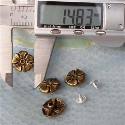 K127 Flowers Alloy Rivets 15x5mm 100pcs/bag
