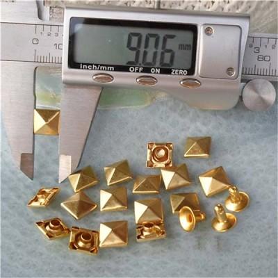 T006 Pyramid Rivets(iron/brass)9mm 1000pcs/bag