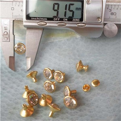 T0909 Rhinestone Brass Rivets 9mm 1000pcs/bag