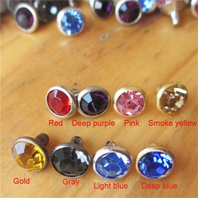 X0804 Rhinestone Brass A Diamond Rivets 8mm 100pcs/bag