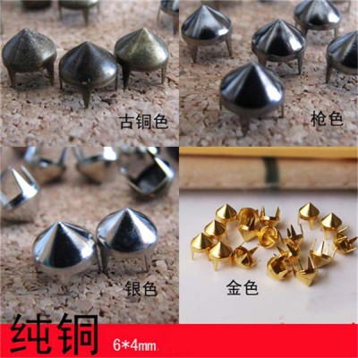 A034 Cone Studs And Spikes( iron/brass) 6.5x4mm 1000pcs/bag