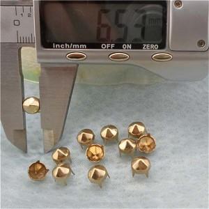 A066 Metal Six Facets Studs(iron/brass) 6.5mm 1000pcs/bag