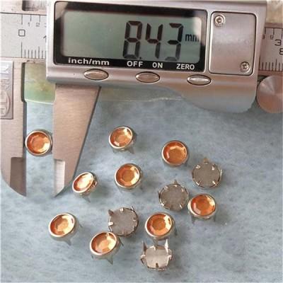 A074 Acrylic and Rhinestone Studs(iron/brass) 8.5mm 1000pcs/bag
