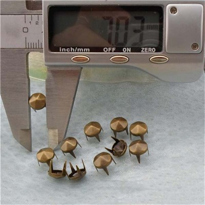 A703248 Six Facets Spikes Studs(iron/brass) 7mm 1000pcs/bag