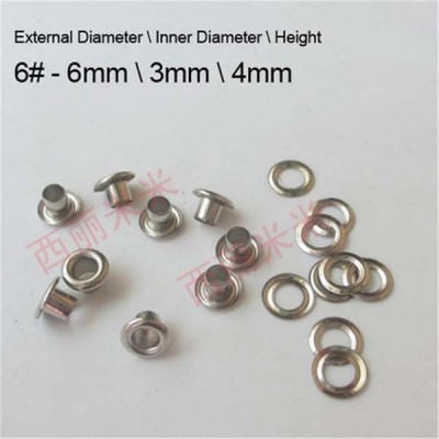 REE6# Round edge eyelets 6x3x4mm  1000pcs/bag