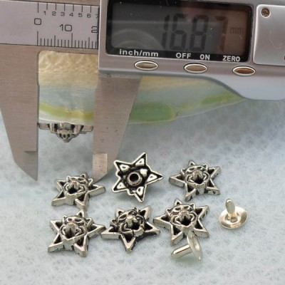 K210 Pentagram Alloy Rivets 17x5mm 1000pcs/Bag