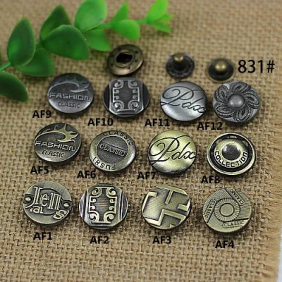 AF17831 831# Metal Snap Fastener/Decorative buckle/Leather buckle/Cowboy deduction/Purse buckle 17mm
