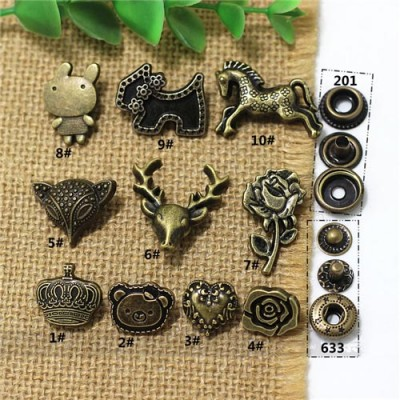 AY105201 201# Metal Snap Fastener/Decorative buckle/Leather buckle/Cowboy deduction 100pcs/bag