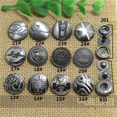 AY107201 201# Metal Snap Fastener/Decorative buckle/Leather buckle/Cowboy deduction/Purse buckle 17mm