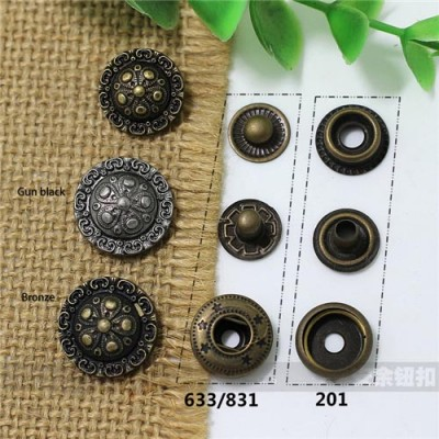 AY115 633#/201#/831# Metal Snap Fastener/Decorative buckle/Leather buckle/Cowboy deduction/Purse buckle