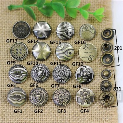 GF17201 201# Metal Snap Fastener/Decorative buckle/Leather buckle/Cowboy deduction/Purse buckle 17mm