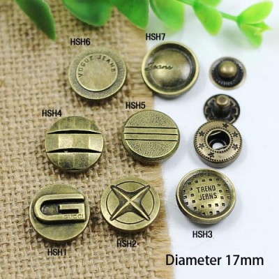 HSHY Metal Snap Fastener/Decorative buckle/Leather buckle/Cowboy deduction/Purse buckle 17mm