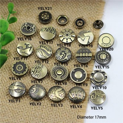 YELY 201# Metal Snap Fastener/Decorative buckle/Leather buckle/Cowboy deduction/Purse buckle 17mm