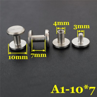 FR402 Stainless Steel Flat Head Screw Posts 10x4x7mm 100pcs/bag