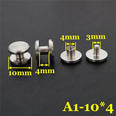 FR405 Stainless Steel Flat Head Chicago Screws For Leather 10x4x4mm 100pcs/bag