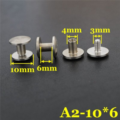 FR408 Stainless Steel Dome Head Binding post screw 10x4x6mm 100pcs/bag