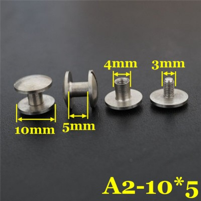 FR409 Stainless Steel Dome Head Threaded Post With Screw 10x4x5mm 100pcs/bag