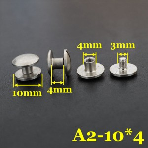 FR410 Stainless Steel Dome Head Binding Screw 10x4x4mm 100pcs/bag