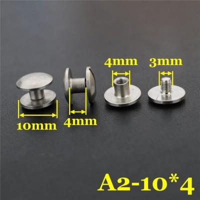 FR410 Stainless Steel Dome Head Binding Screw 10x4x4mm 100pcs/bag