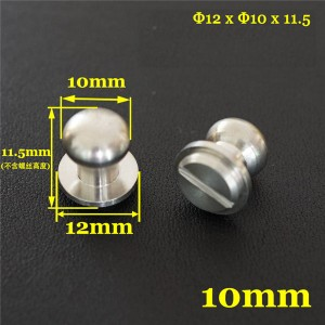 FR502 Stainless Steel Sam Browne Stud Round Head Button Screw Post 12x10x11.5mm 100pcs/bag