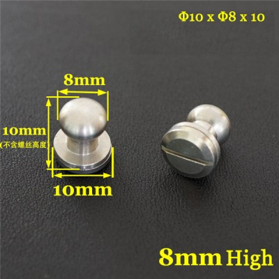 FR504 Stainless Steel Sam Browne Stud Round Head Button Screw Post 10x8x10mm 100pcs/bag