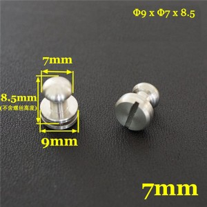 FR506 Stainless Steel Sam Browne Stud Round Head Button Screw Post 9x7x8.5mm 100pcs/bag