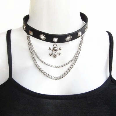 Skull-Spikes-Rivets-Punk-Necklaces HJ366
