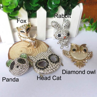 XL101 The new animal buckles,DIY bag accessories,Diamond owl,Panda,Fox,Rivets metal buckles MOQ 10pcs