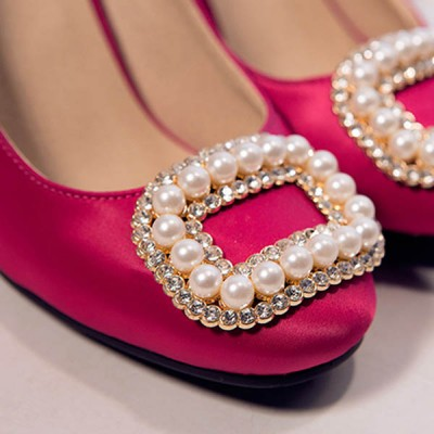XL131 DIY pearl rhinestone buckle/Korean version detachable shoe flower/Factory outlets 49x61mm MOQ 10pcs