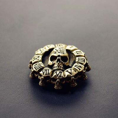 NA023 Brass Conchos Death Skull Clock 40mm
