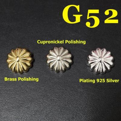 G52 Pure Brass Pumpkin Round Buckle Conchos 17mm 1pc/bag