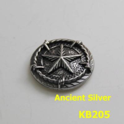 KB205 Ancient Silver Pentagonal Badge Conchos 25mm 1pc/bag
