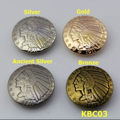 KBC03 Alloy Indian chiefs Conchos 23mm 1pc/bag