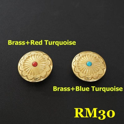 RM30 Pure Brass Flower Conchos 26.5mm 1pc/bag