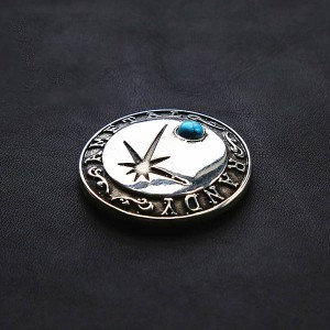 NA039 Embossed Inlaid Turquoise Conchos 35mm