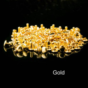 Gold color double cap brass rivets