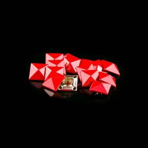 Red color pyramid rivet