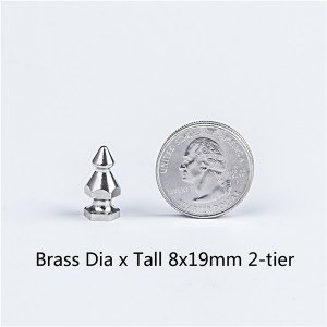 dia x tall 8x19mm punk 2-tier brass spikes for sale 1